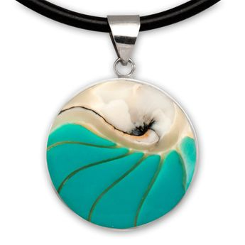 Noble Stainless Steel Pendant with Nautilus Shell in 9 different Colors – picture 10