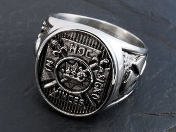 Anillo Templario Masón Rito de York Acero Inoxidable 316L In Hoc Signo Vinces – picture 1
