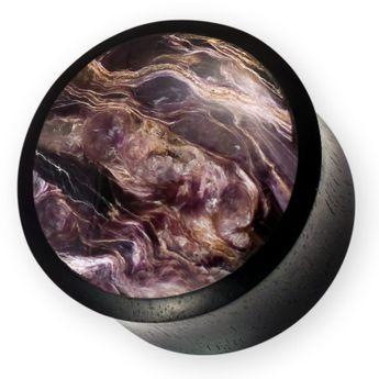 Ebenholz Plug mit Charoite Inlay schwarz-violett