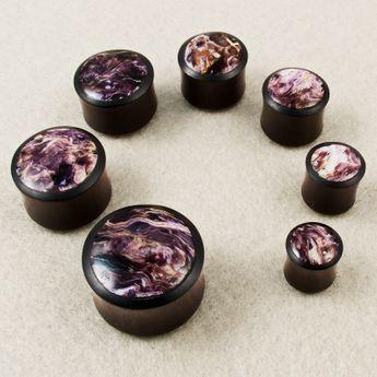 Plug dilatación madera de ébano con incrustación de charoita negro-púrpura – picture 2