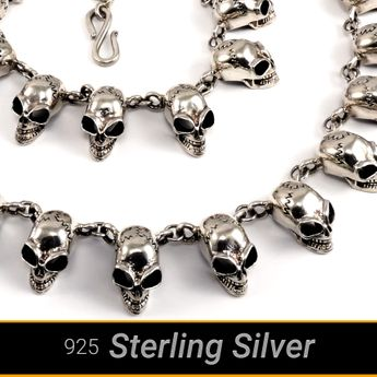 Massive unique sterling silver necklace for men with 28 skulls – picture 2