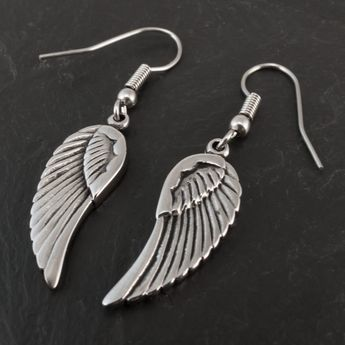 Stainless Steel Earrings - Angel Wings – picture 2