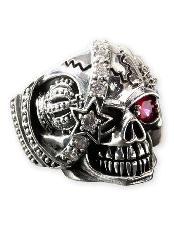 Ring mit Totenkopf Pirat aus Edelstahl mit Strass Kristall Auge – Bild 2
