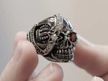 Stainless Steel Skull Ring | One-eyed pirate – picture 3