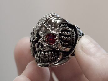Stainless Steel Skull Ring | One-eyed pirate – picture 6