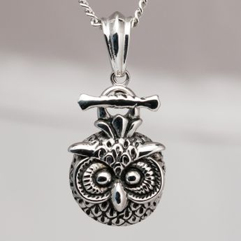 Surgical Stainless Steel Pendant - Owl – picture 2