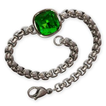Noble Designer Stainless Steel Ladies Bracelet with green Zirconia Crystal – picture 1