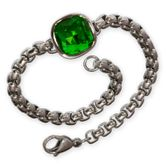 Noble Designer Stainless Steel Ladies Bracelet with green Zirconia Crystal