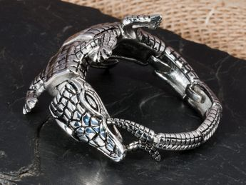Wide crocodile stainless steel bracelet  – picture 2