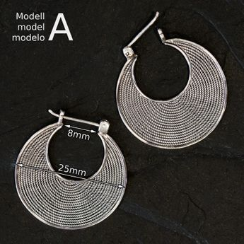 Silver Earrings - Balinese Hoop Earrings – picture 4