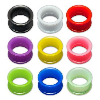 1 pair! Extra soft silicone flesh tunnel with narrow edge - 4 to 30 mm - 10 colors – picture 1