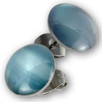 Round Stainless Steel Earrings With Shell or Stone Inlay – picture 6