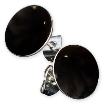 Stainless Steel Earstuds with Mother of Pearl, Coral or Shiva Eye Inlay – picture 6
