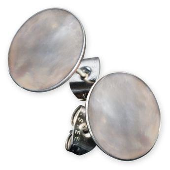 Stainless Steel Earstuds with Mother of Pearl, Coral or Shiva Eye Inlay – picture 8