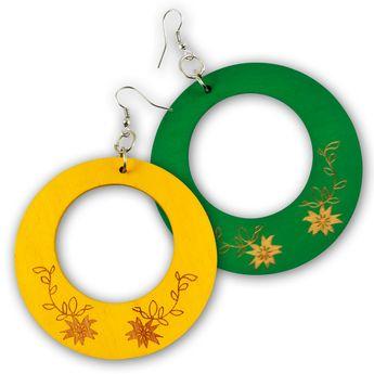Gelbe oder Grüne Ohrhänger aus Holz  - Blumen
