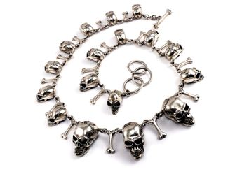 Massive unique silver necklace for men with 17 skulls and bones – picture 1