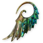 Mother of Pearl / Paua Abalone Shell Spiral Expander - Angel Wing