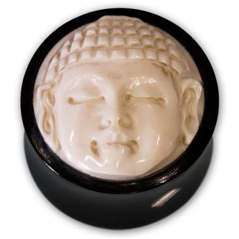 Buffalo Horn Ear Plug with Buddha Bone Inlay 10-30 mm black and white – picture 1