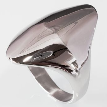 Long Oval Designer Stainless Steel Ring – picture 4