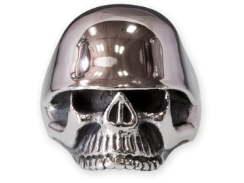 Stainless Steel Skull Ring | Soldier Skull with Steel Helmet – picture 2