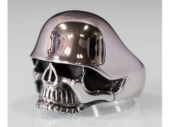 Stainless Steel Skull Ring | Soldier Skull with Steel Helmet – picture 6