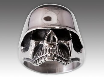 Stainless Steel Skull Ring | Soldier Skull with Steel Helmet – picture 7