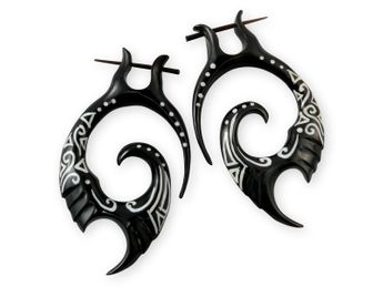 Black Tribal Horn Stick Earrings with bone inlay - inlay on both sides