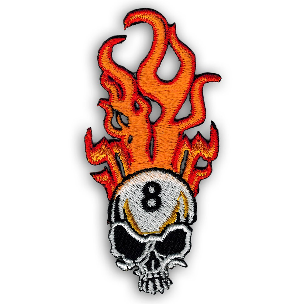 Application badges skeleton with flame 9,5x5,8cm red Iron on patches