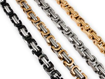 5 mm thick Square Stainless Steel Byzantine King Chain / Necklace or Bracelet – picture 1