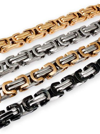 6 mm thick Square Stainless Steel Byzantine King Chain / Necklace or Bracelet – picture 8