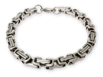 6 mm thick Square Stainless Steel Byzantine King Chain / Necklace or Bracelet – picture 12
