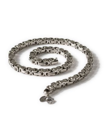 7 mm Square Stainless Steel Byzantine King Chain / Necklace or Bracelet – picture 5