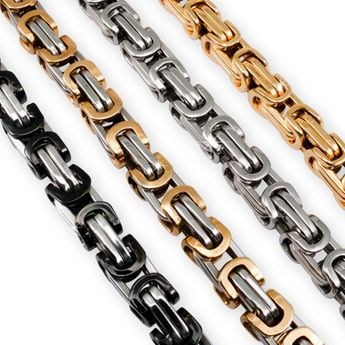 7 mm Square Stainless Steel Byzantine King Chain / Necklace or Bracelet – picture 6