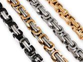 7 mm Pulsera o Collar en cadena cuadrado de acero inoxidable estilo de la realeza Bizantina 001