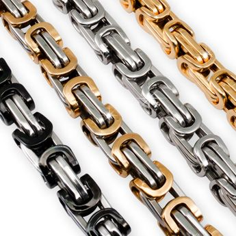 12 mm Square Stainless Steel Byzantine King Chain / Necklace or Bracelet – picture 2
