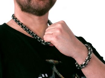 12 mm Square Stainless Steel Byzantine King Chain / Necklace or Bracelet – picture 15