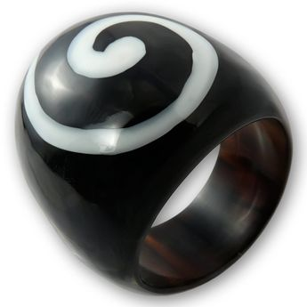 Ring from Buffalo Horn with Spiral Inlay