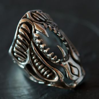 XL Design 925 Sterling Skull Ring - Alien Monster Fangs – picture 2