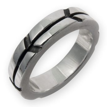 Narrow Sterling Silver Band Ring - Arrows