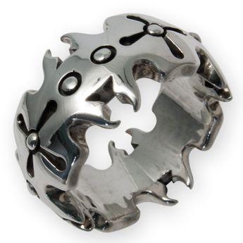 Auffälliger großer 925er Sterling Silber Ring - Crown Design