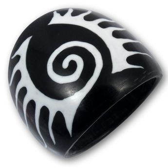 Black Horn Ring with Bone Inlays - different designs – picture 3