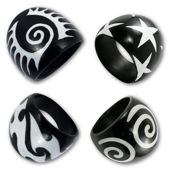 Black Horn Ring with Bone Inlays - different designs – picture 1