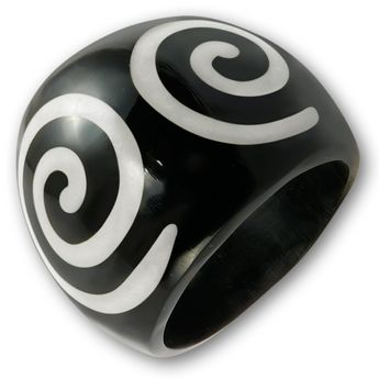 Black Horn Ring with Bone Inlays - different designs – picture 6