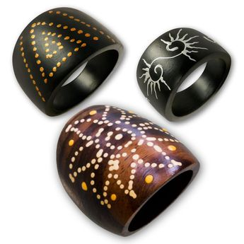 Lady's Rings from wood - handmade, handpainted with different motifs and patterns – picture 1