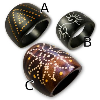 Lady's Rings from wood - handmade, handpainted with different motifs and patterns – picture 2