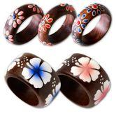 Damenring aus Holz / Holzringe mit Blumen & Blüten Motiven 001