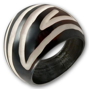 Ring from Blackened Bone with different Tribal Patterns – picture 4