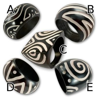Ring from Blackened Bone with different Tribal Patterns – picture 2