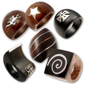 Wood Rings with Silver or Stainless Steel Applications – picture 1