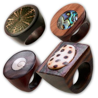 Wood Rings with Different Shell Inlays – picture 1